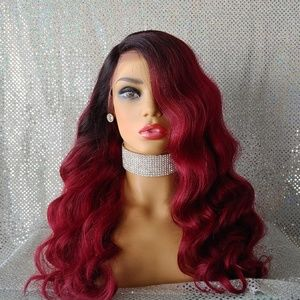 Burgundy body wave wig with dark roots New